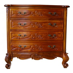 French Mahogany Furniture Provincial Large 4 Chest of Drawers
